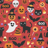 Fototapeta Pokój dzieciecy - Vector cute seamless Halloween pattern. Smiling and funny cartoon characters pumpkin, ghost, cat, bat, candy, spider. Wrapping paper, wallpaper, repeating background