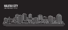 Cityscape Building Line Art Vector Illustration Design - Halifax City