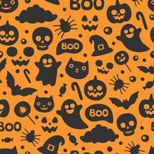 Vector Cute Seamless Halloween...
