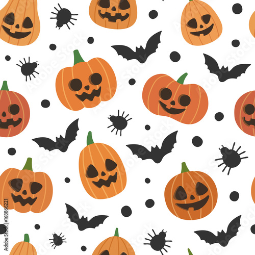 Cute Vector Seamless Pattern With Halloween Pumpkins Spiders And Bats Smiling And Funny Cartoon Characters Wrapping Paper Wallpaper Repeating Background Buy This Stock Vector And Explore Similar Vectors At Adobe Stock