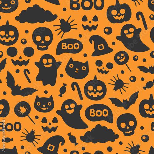 Materiał do szycia Wektor ładny wzór Halloween bez szwu. Uśmiechnięty i zabawnych kreskówek dyni, ghost, kot, bat, słodycze, Pająk. Papier pakowy, Tapeta, powtarzając tło