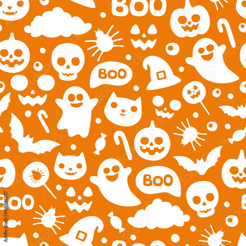 fototapeta na ścianę Vector cute seamless Halloween pattern. Smiling and funny cartoon characters pumpkin, ghost, cat, bat, candy, spider. Wrapping paper, wallpaper, repeating background