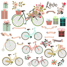Big Cute Collection Of Save The Date Elements Or Valentine With Bicycle And Flowers