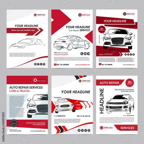 Auto repair Services business layout templates set, automobile ...