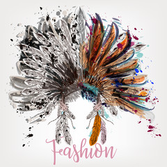 FototapetaFashion boho design with headdress and spots