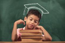 School Child On Blackboard Bac...