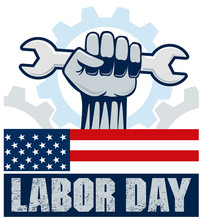 Labor Day With Hand Holding Wr...