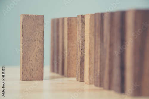 Selective focus wood block outstanding row, Business leadder, Unique or differen Canvas Print