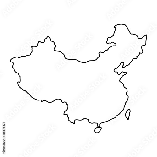 China map of black contour curves of vector illustration