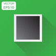 Photo frame icon. Business concept photography pictogram. Vector illustration on green background with long shadow.