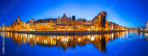 obraz PCV Panorama of Gdansk at Motlawa river, Poland
