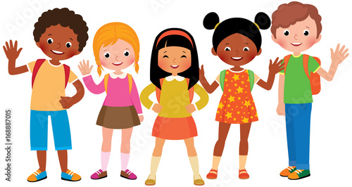 Stock Vector cartoon illustration of a group of children students