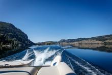 Pontoon Boat On Lake
