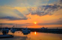 Docked Yachts On Manila Bay In...