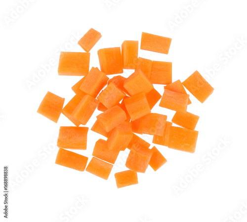 Brunoise carrots isolated on white background, Top view.