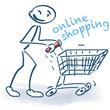 Strichmännchen mit Einkaufswagen und online shopping
