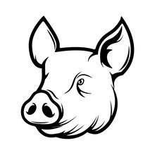 Pork Meat Label On White Backg...