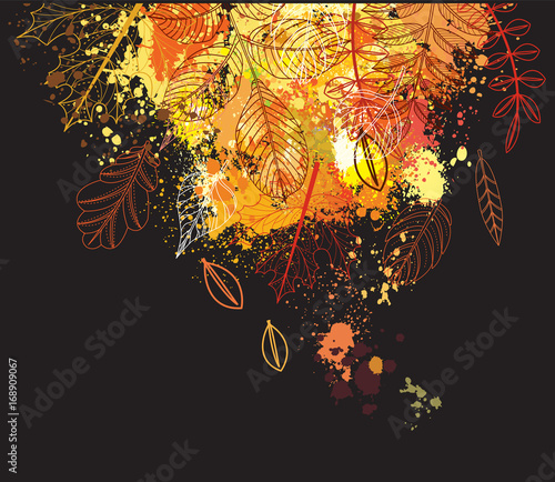 Background of paint splashes and autumnal leaves Wall mural