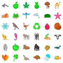 Animal Species Icons Set, Cartoon Style