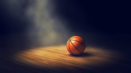 Piłka na boisku do koszykówki z reflektorami, arena do koszykówki