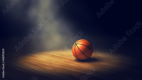 Fotografie, Obraz  Ball on basketball court with spotlights , Basketball arena