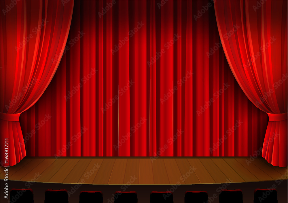 Fototapeta Vector drawing, theater stage with red curtain