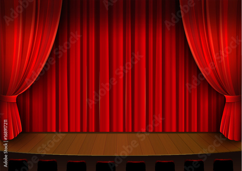 Fototapeta Vector drawing, theater stage with red curtain obraz