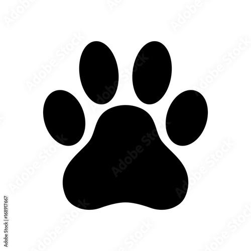 Foto Dog paw print. Paw icon. Vector illustration.