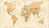 Fototapeta Młodzieżowe - World Map Vintage Vector