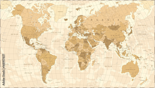 Foto auf Leinwand Weltkarte World Map Vintage Vector