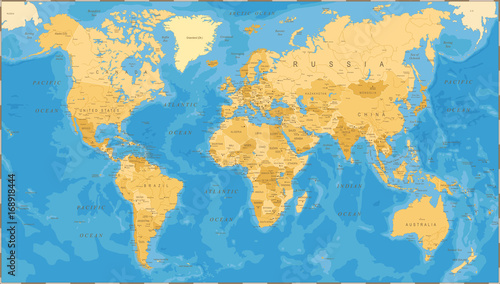Recess Fitting World Map World Map Political Vintage Vector