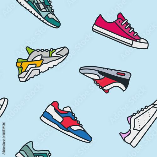 Seamless Pattern Sneaker Shoe Minimalistic Color Flat Line Outline Stroke Icon P Fototapeta