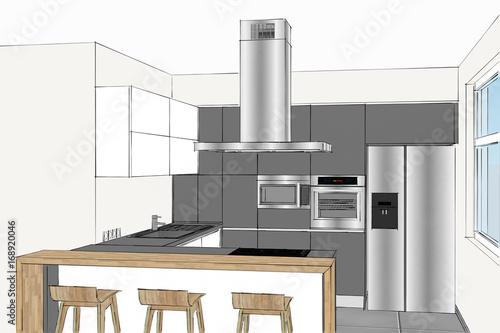 3D rendering. Modern creative kitchen design in light ...
