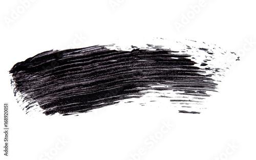 Valokuvatapetti Brush strok of black shade of mascara on white