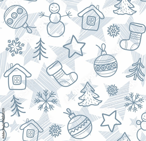 Christmas Boots Drawing.Christmas White Background Grey Outline Drawings Seamless