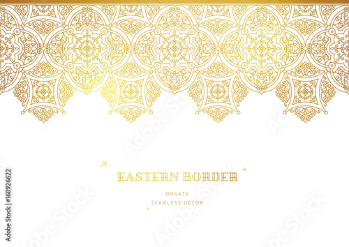 Vector vintage seamless border in Eastern style. Canvas-taulu