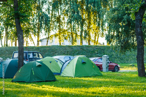 Photo Stands Camping Tents Camping area in beautiful natural place