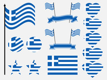 Greece Flag Set. Collection Of...
