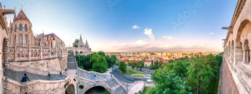 Poster Oost Europa Budapest, Fischerbastei und Blick über die Stadt