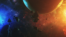 Colorful Outer Space With Aste...