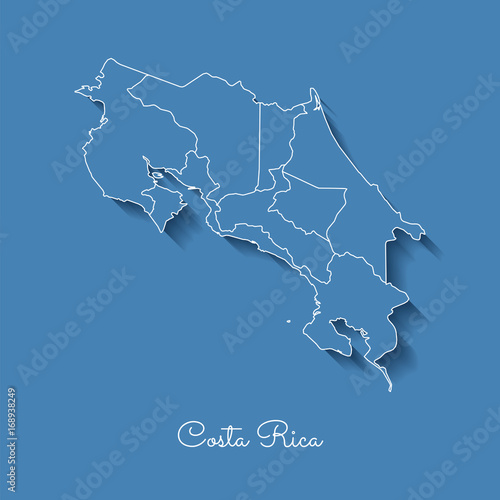 Costa Rica region map: blue with white outline and shadow on blue ...