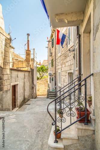 Fotografie, Obraz  Piękna uliczka w Chorwacji, Wyspa Korcula