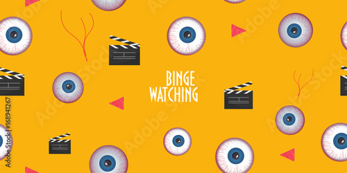 Seamless pattern to promote Binge Watching or marathon viewing Tablou Canvas