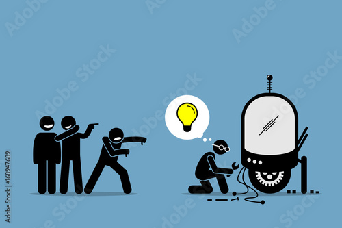 Critics Mocking and Making Fun of an Inventor from Creating and Inventing New Idea and Extraordinary Technology Fototapeta