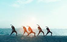 Young Group Man And Woman Yoga...