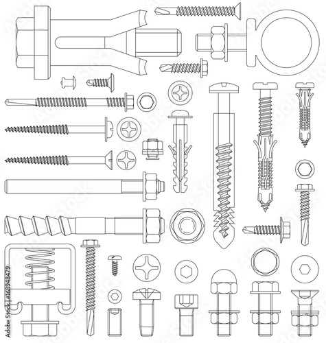 Obraz Outline diagram of various fixings including screws bolts nuts washers rivets - fototapety do salonu