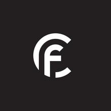 Initial Lowercase Letter Logo Cf, Fc, F Inside C, Monogram Rounded Shape, White Color On Black Background