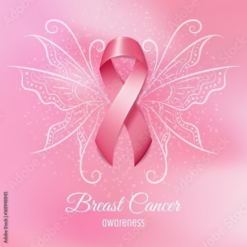 Breast Cancer Pink Ribbon With Wings On Pink Background Vector