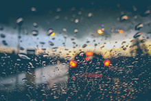 Abstract Blurred Background Of Traffic Jam On Heavy Rain