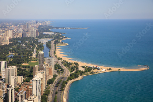 Plakat Chicago, przejażdżka brzegiem jeziora, jezioro Michigan, North Avenue Beach, widok z lotu ptaka,